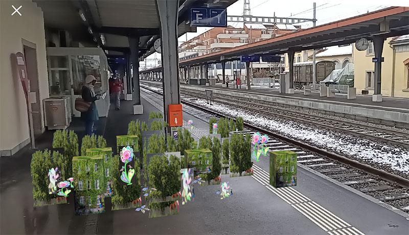 Virtuell begrünter Bahnhof